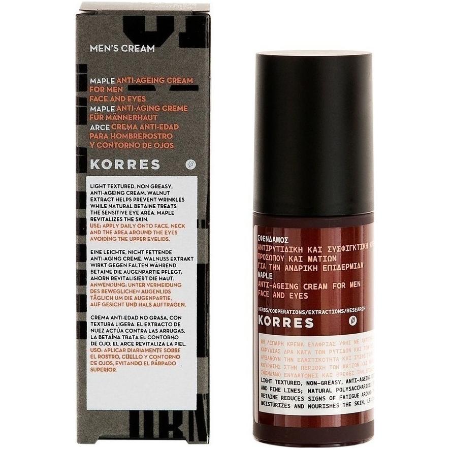 Korres Mens Cream Σφένδαμος Αντιρυτιδική & Συσφικτική Κρέμα Προσώπου & Ματιών Για Την Ανδρική Επιδερμίδα 50ml