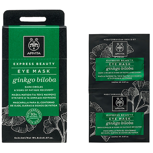 APIVITA Express Beauty Μάσκα Ματιών με Ginkgo Biloba για Μαύρους Κύκλους & Σημάδια Κούρασης 2x2ml