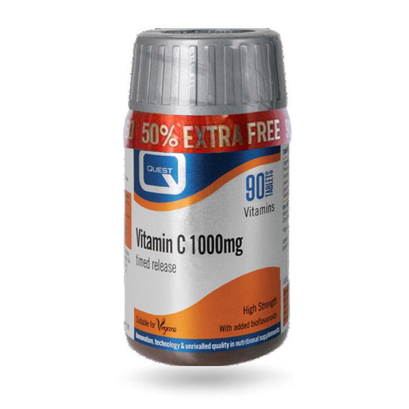 QUEST Vitamin C 1000mg Timed Release για προστασία του ανοσοποιητικού +50% Επιπλέον Προϊόν 90tabs