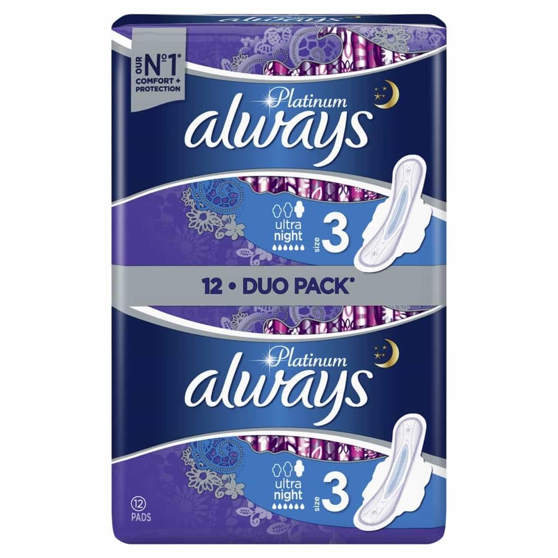 ALWAYS Platinum Ultra Night Σερβιέτες με Φτερά Μέγεθος 3 6+6 τμχ 1+1 ΔΩΡΟ