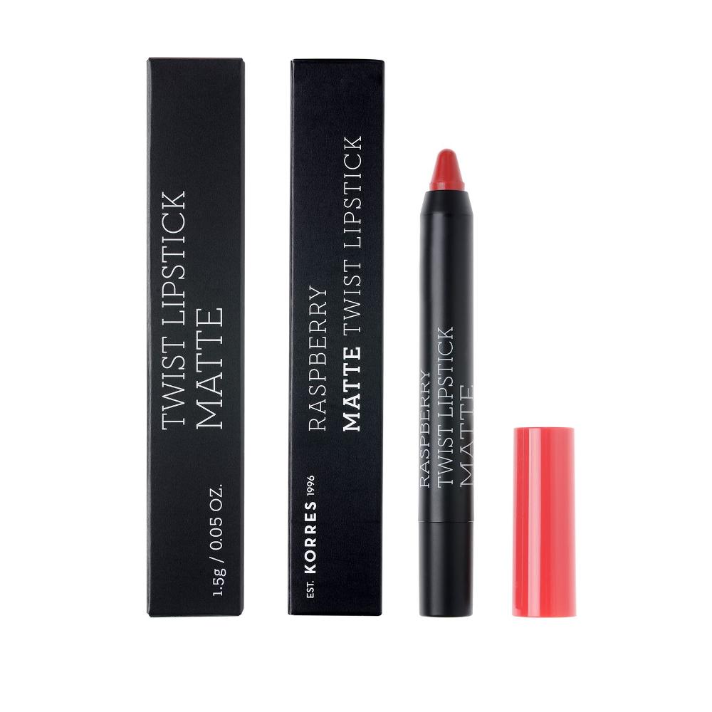 KORRES Twist Lipstick Matte Βατόμουρο Impossing Red 1.5gr