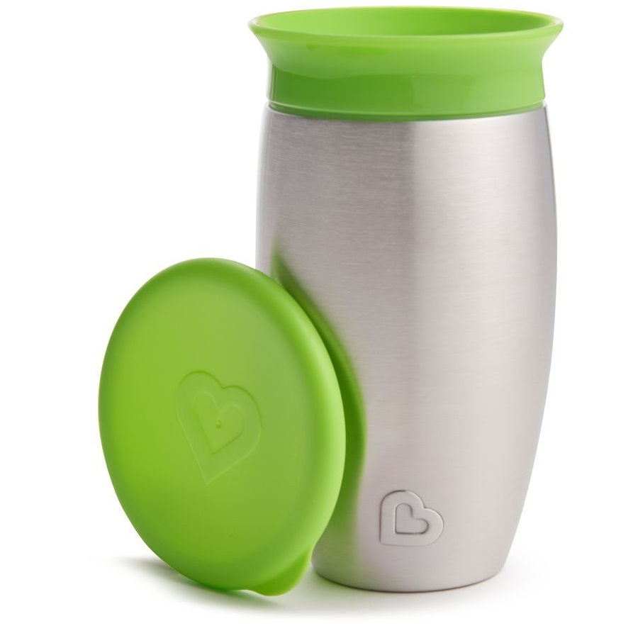 MUNCHKIN Miracle 360° Stainless Steel Sippy Cup, Πράσινο- 296ml
