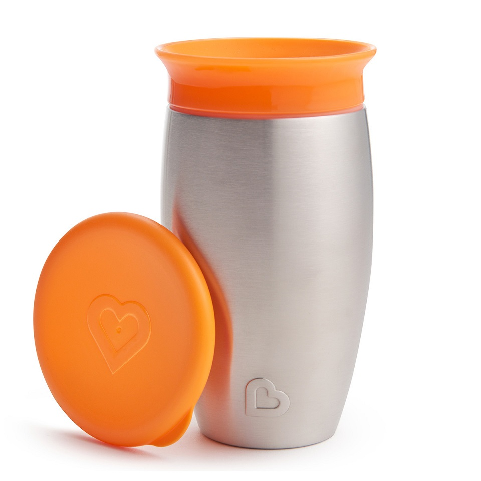 MUNCHKIN Miracle 360° Stainless Steel Sippy Cup, Πορτοκαλί - 296ml
