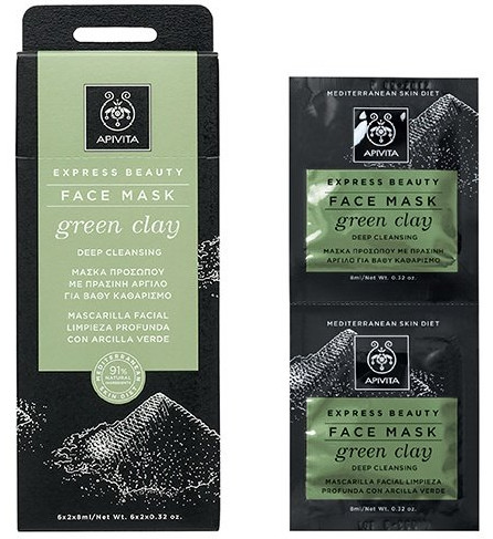 APIVITA Express Beauty Μάσκα Προσώπου με Πράσινη Άργιλο για Βαθύ Καθαρισμό 2x8ml
