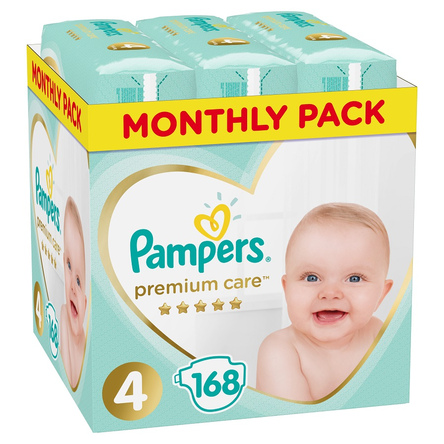 PAMPERS Premium Care No 4 (8-14Kg) Monthly Pack - 168τμχ