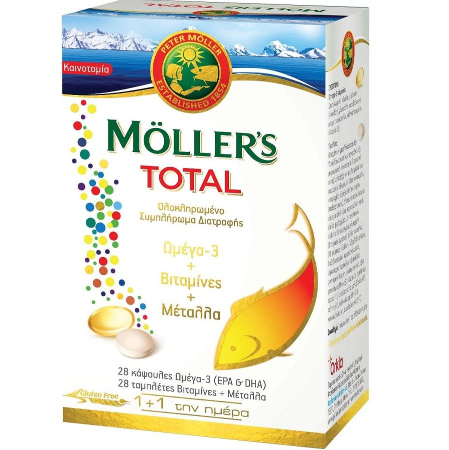 Moller΄s Total Ω3 & Βιταμίνες & Μέταλα - 28 Caps +28 Tabs