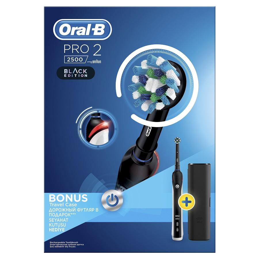 ORAL B Pro 2 2500 Black Edition, Hλεκτρική Οδοντόβουρτσα & Δώρο Θήκη Ταξιδιού