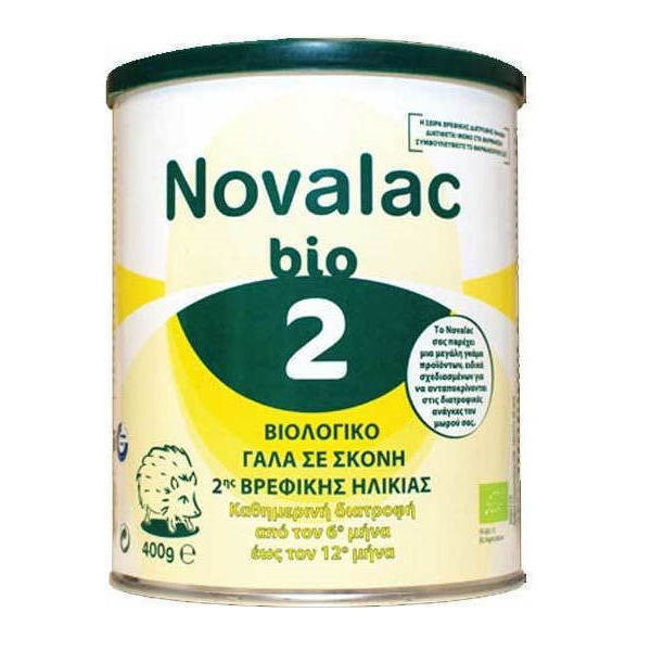 NOVALAC BIO 2, Γάλα σε Σκόνη 2ης Βρεφικής Ηλικίας 6ο- 12o μήνα - 400gr