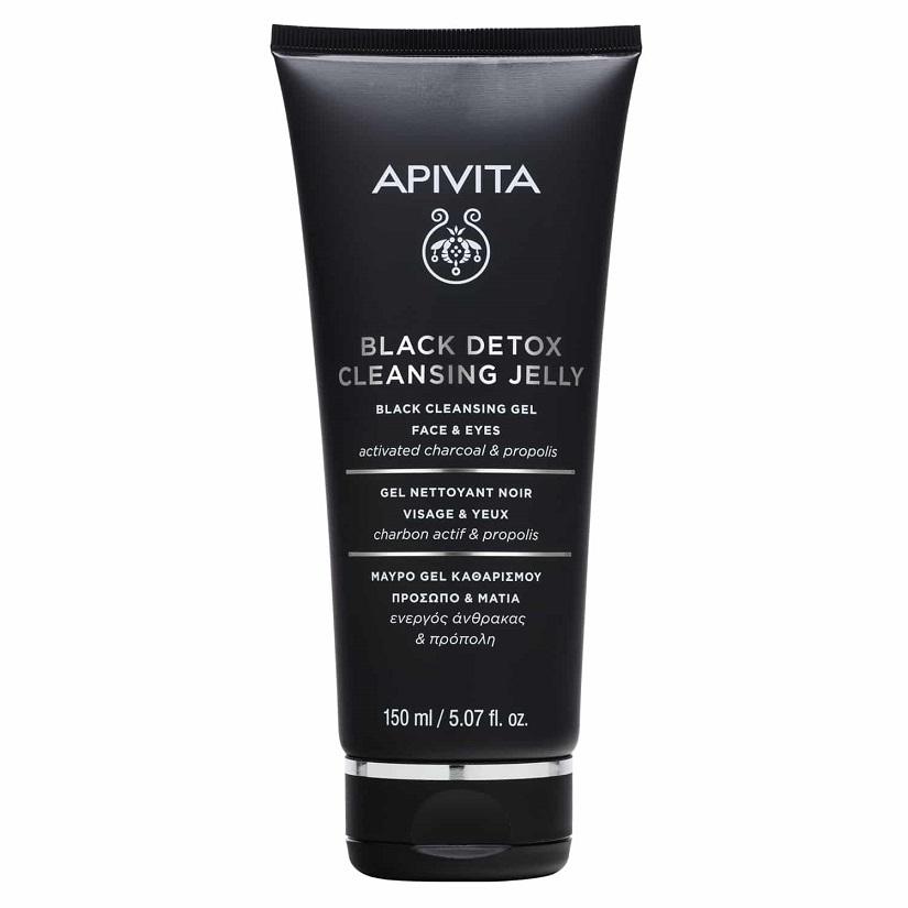 APIVITA Black Detox Cleansing Jelly, Μαύρο Gel Καθαρισμού Πρόσωπο & Μάτια- 150ml