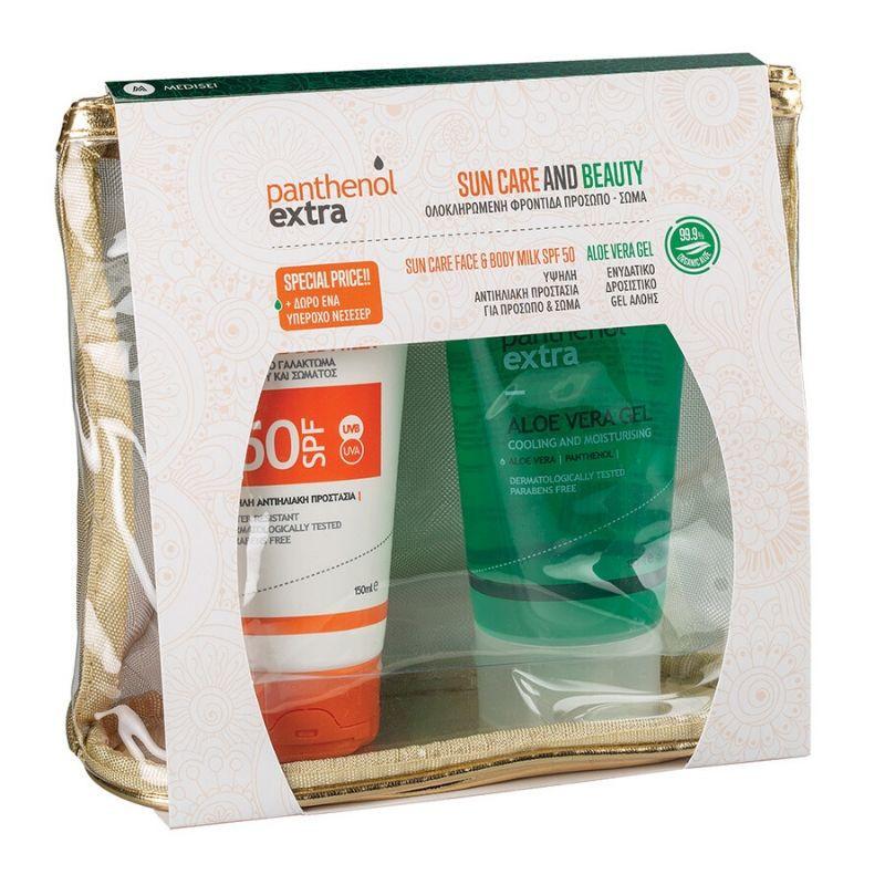 PANTHENOL EXTRA Σετ Sun Care & Beauty, Face & Body Milk SPF50 - 150ml & Aloe Vera Gel - 150ml