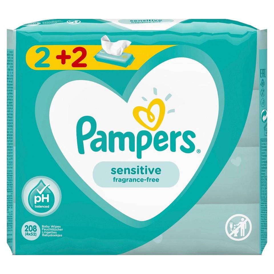 PAMPERS Baby Wipes Sensitive - Μωρομάντηλα 2+2 Δώρο - 4x52τμχ.