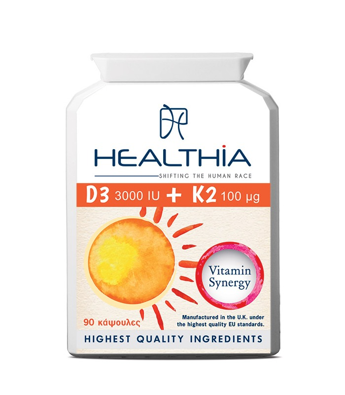 HEALTHIA D3 3000iu Κ2 100mcg - 90tabs