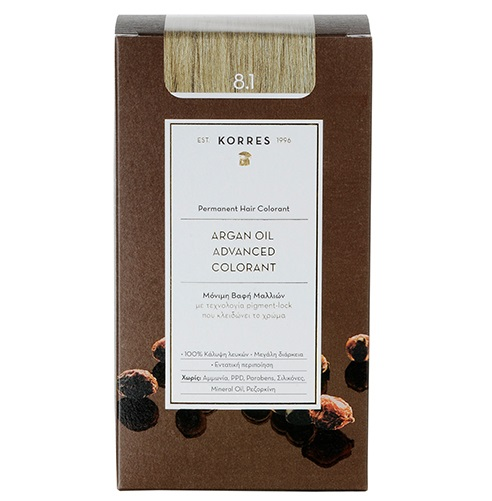KORRES Βαφή Argan Oil 8.1 Ξανθό Ανοιχτό Σαντρέ - 50ml