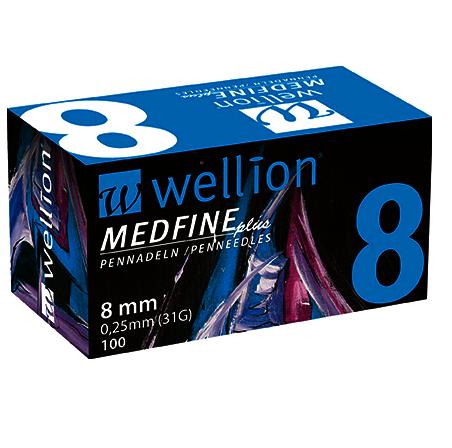 WELLION Βελόνες Πένας Ινσουλίνης Wellion Medfine plus 8mm 0,25mm (31G) - 100τεμ