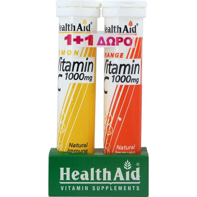 HEALTH AID Vitamin C 1000mg Λεμόνι 20 Αναβράζοντα Δισκία + ΔΩΡΟ Vitamin C 1000mg Πορτοκάλι 20 Αναβράζοντα  Δισκία
