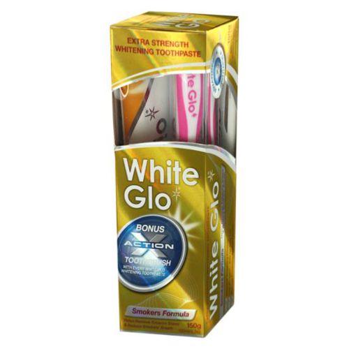 WHITE GLO Smokers Formula - Λευκαντική Οδοντόκρεμα 150gr + ΔΩΡΟ Οδοντόβουρτσα