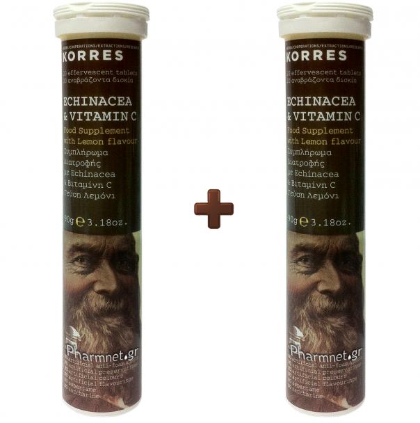 KORRES Echinacea & Vitamin C - 20 Αναβράζοντα Δισκία, 1+1 ΔΩΡΟ