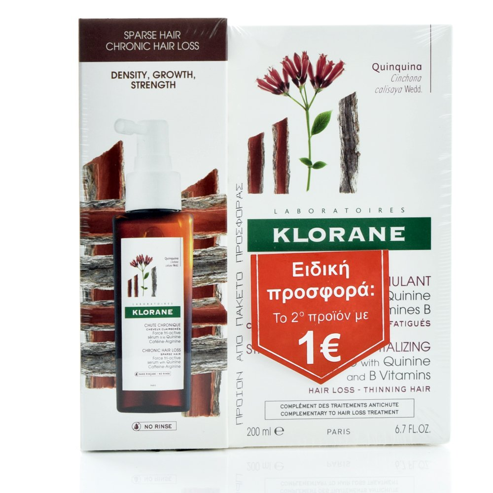 KLORANE Σετ Force Tri-Active Serum - 100ml & Quinine Shampoo 200ml