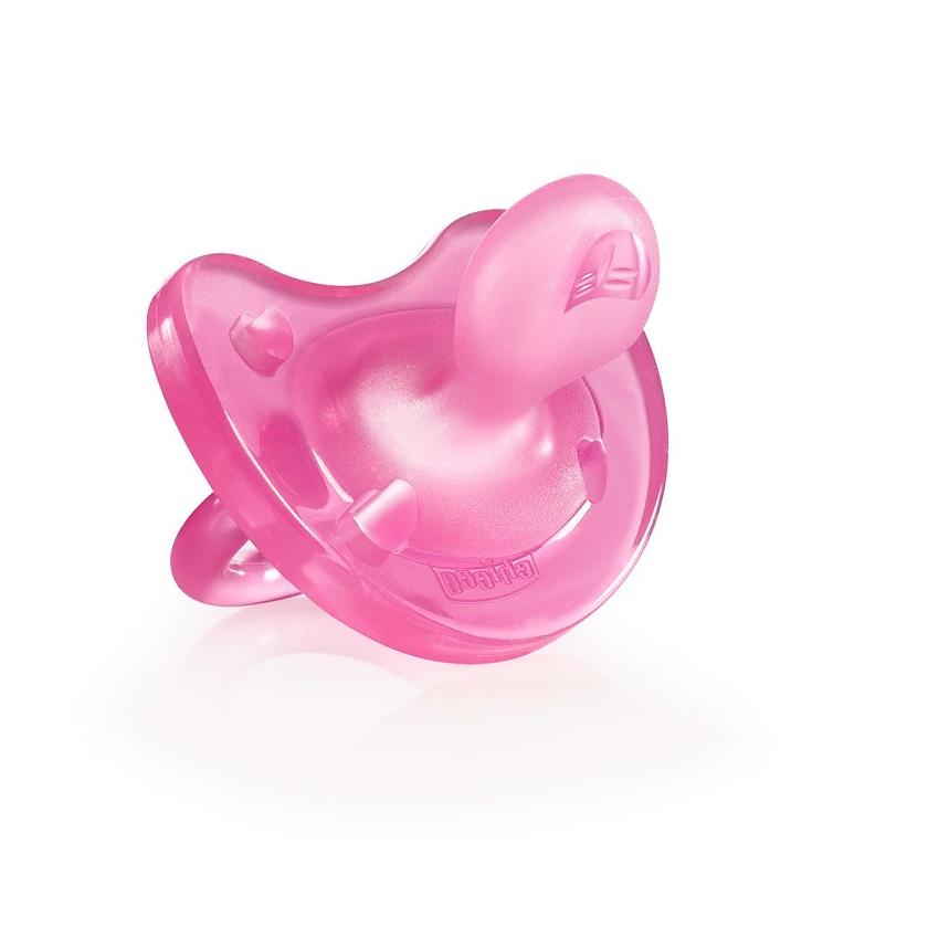 CHICCO Physio Soft, Πιπίλα Όλο Σιλικόνη, Ροζ 16-36m