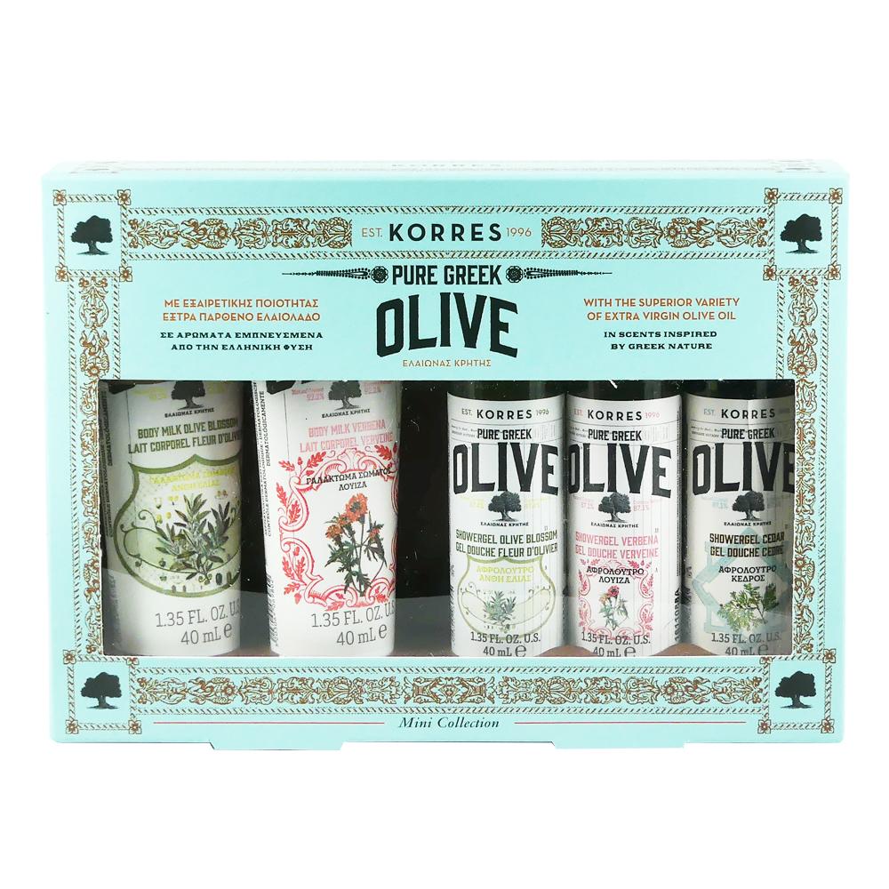 KORRES Set Pure Greek Olive with Olive Blossom Body Milk 40 ml & Verbena Body Milk 40 ml & Olive Blossom Showergel 40 ml & Verbena Showergel 40 ml & Cedar Showergel 40 ml