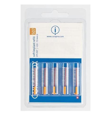 CURAPROX Cps 507 Soft Implant Aνταλλακτικά Μεσοδόντια Βουρτσάκια Πορτοκαλί 5τμχ (για εμφυτεύματα)