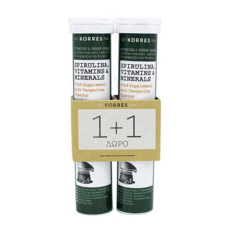 KORRES 1+1 Spirulina Vitamins & Minerals 2x18 Αναβράζοντα Δισκία
