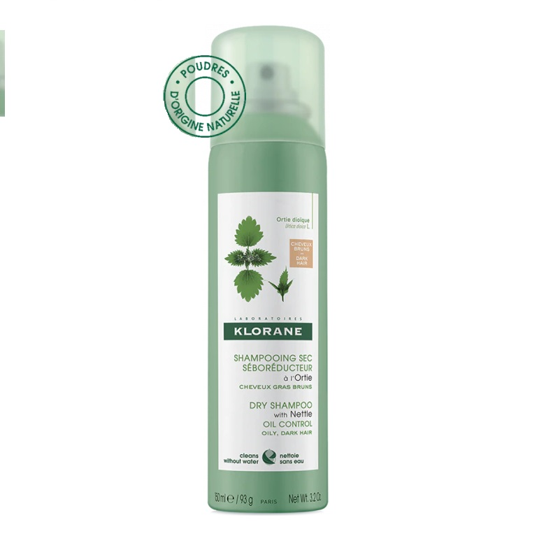 KLORANE Dry Shampoo Ortie, Ξηρό Σαμπουάν Spray με Εκχύλισμα Τσουκνίδας για Καστανά Μαλλιά - 150ml