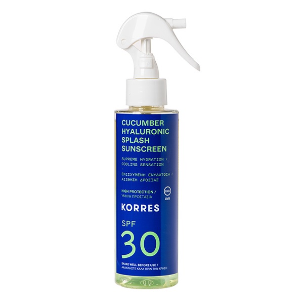 KORRES Cucumber Hyaluronic Αντηλιακό Spray, Πρόσωπο & Σώμα SPF30 - 150ml