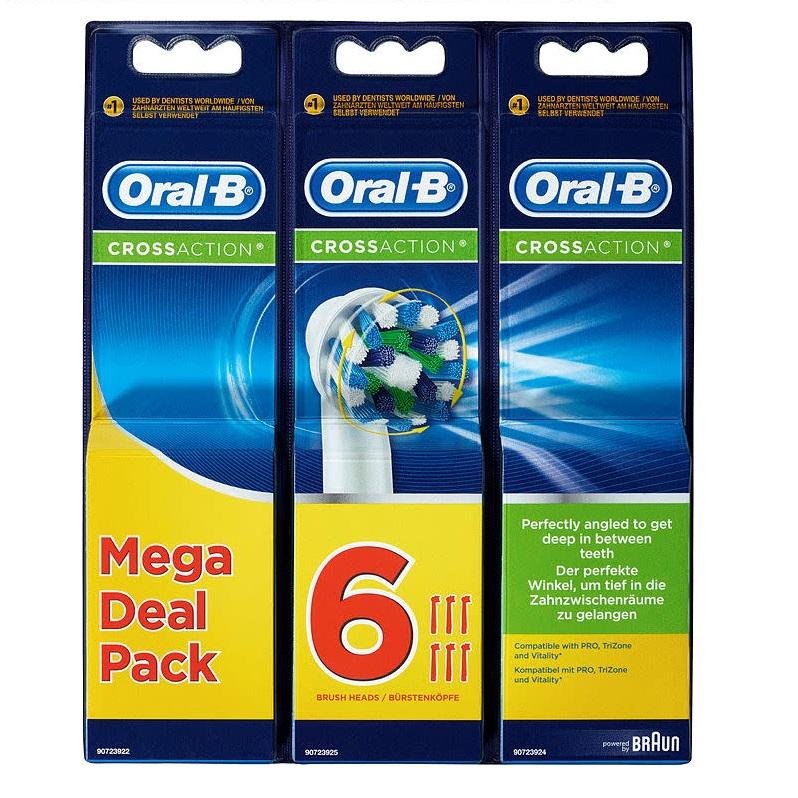 ORAL B Ανταλλακτικές Κεφαλές Cross Action Mega Deal Pack - 6τμχ