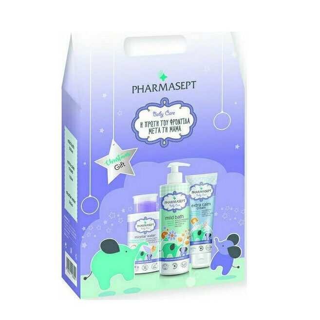 PHARMASEPT Baby Care Christmas Gift Set, Baby Mild Bath - 500ml & Micellar Water -  300ml & Extra Calm Cream - 150ml