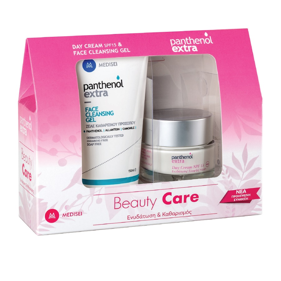 PANTHENOL Extra Beauty Care, Ενυδάτωση & Καθαρισμός, Day Cream SPF15 - 50ml & Face Cleansing Gel - 150ml