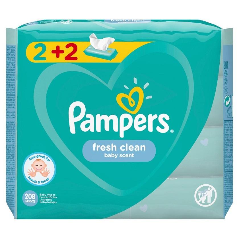 PAMPERS Baby Wipes Fresh Clean Μωρομάντηλα 4Χ52, 2+2 Δώρο