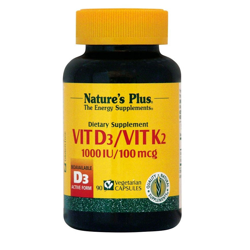 NATURE΄S PLUS Vitamin D3 1000iu & Vitamin K2 100mcg - 90veg caps