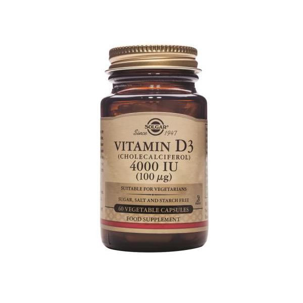 SOLGAR Vitamin D3 4000 IU 100µg 60 Φυτικές Κάψουλες