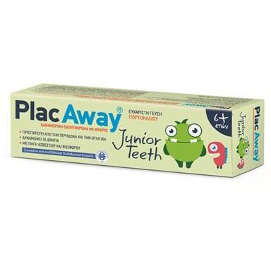 PLAC AWAY Junior Teeth Παιδική Οδοντόκρεμα με Γεύση Πορτοκάλι 50ml