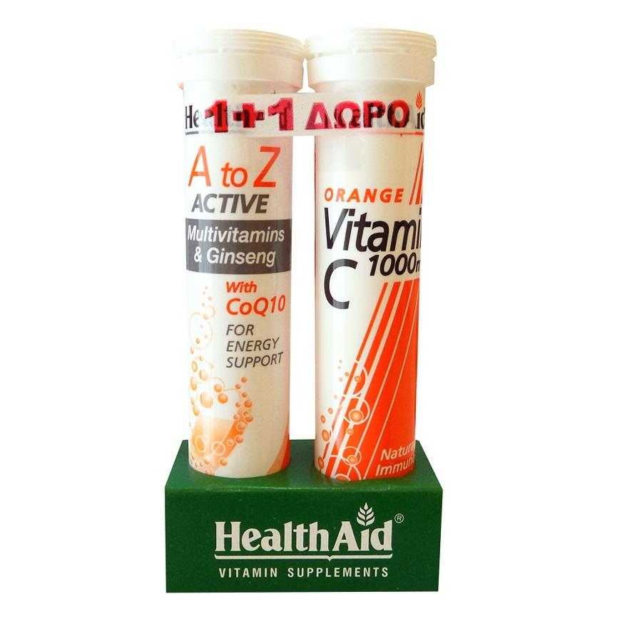 HEALTH AID A to Z Πολυβιταμίνη με Τζίνσενγκ & Q10 - 20 Αναβρ. Δισκία + Vitamin C 1000mg -20 Αναβρ. Δισκία