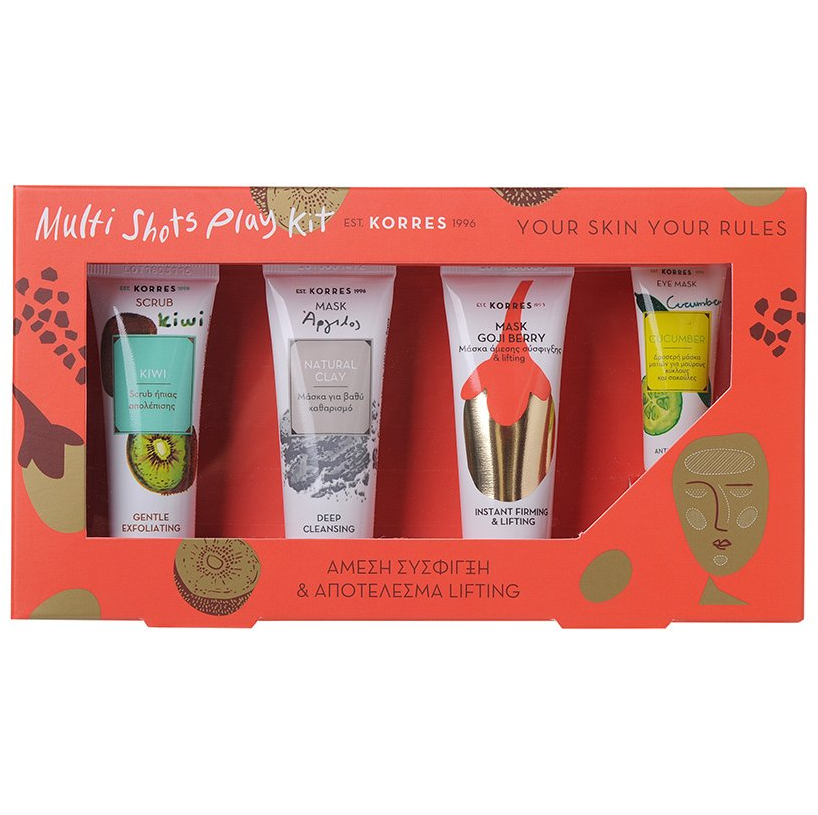 KORRES Multi Shots Play Kit Σύσφιγξη Lifting - Scrub Kiwi 18 ml & Mask Natural Clay 18 ml & Mask Goji Berry 18 ml & Eye Mask Cucumber 8 ml