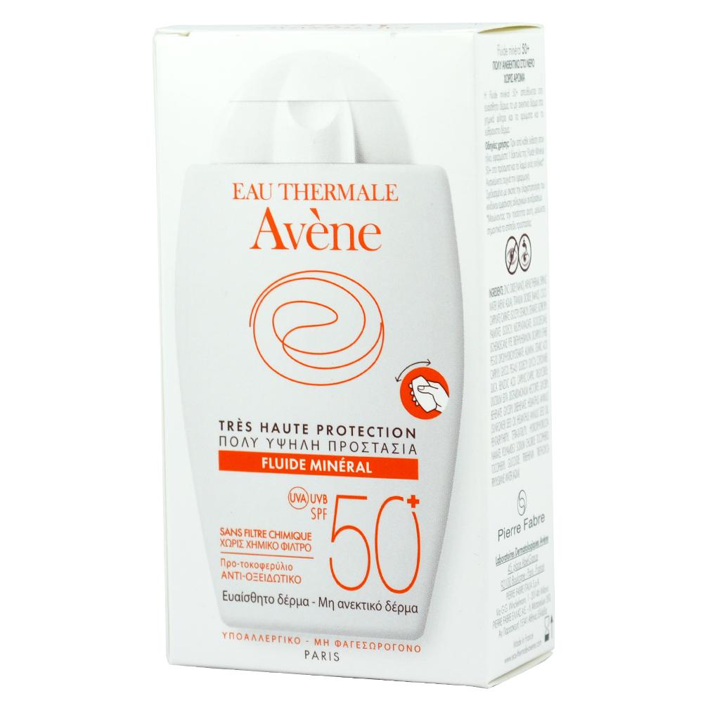 AVENE Fluide Mineral SPF50+, Αντηλιακό Προσώπου για Μη Ανεκτικό Δέρμα --  40ml