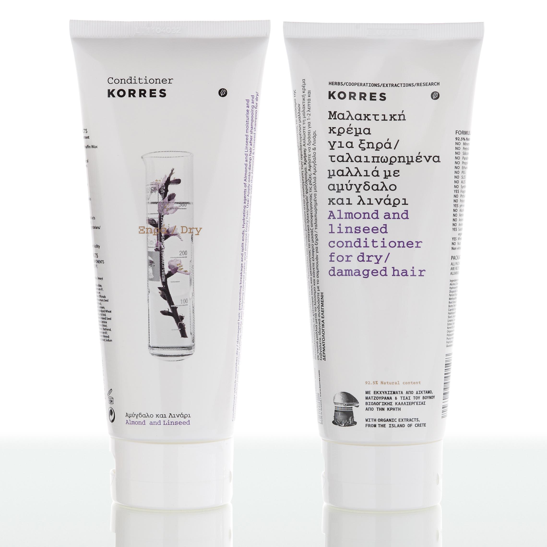 KORRES Conditioner Αμύγδαλο & Λινάρι Για Ξηρά & Αφυδατωμένα Μαλλιά 200ml