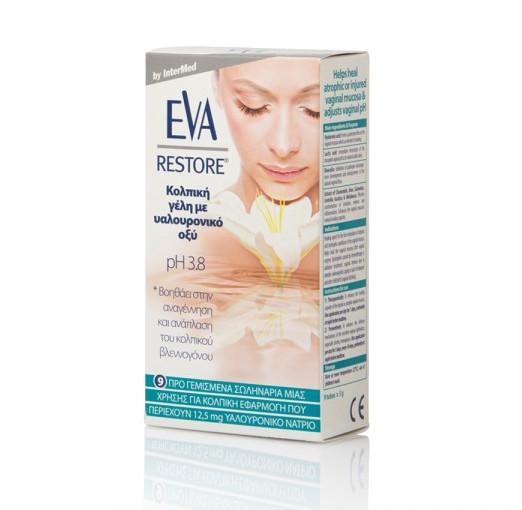 INTERMED Eva Restore Vaginal Gel pH 3.8, Σωληνάρια μιας Χρήσης για Κολπική Εφαρμογή - 9τμχ