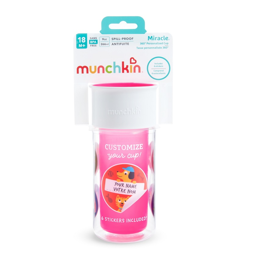 MUNCHKIN Miracle 360 Insulated Sticker Cup, Purple - 266ml
