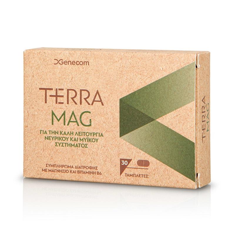 GENECOM Terra Mag, Συμπλήρωμα διατροφής με Μαγνήσιο και Bιταμίνη Β6 - 30tabs