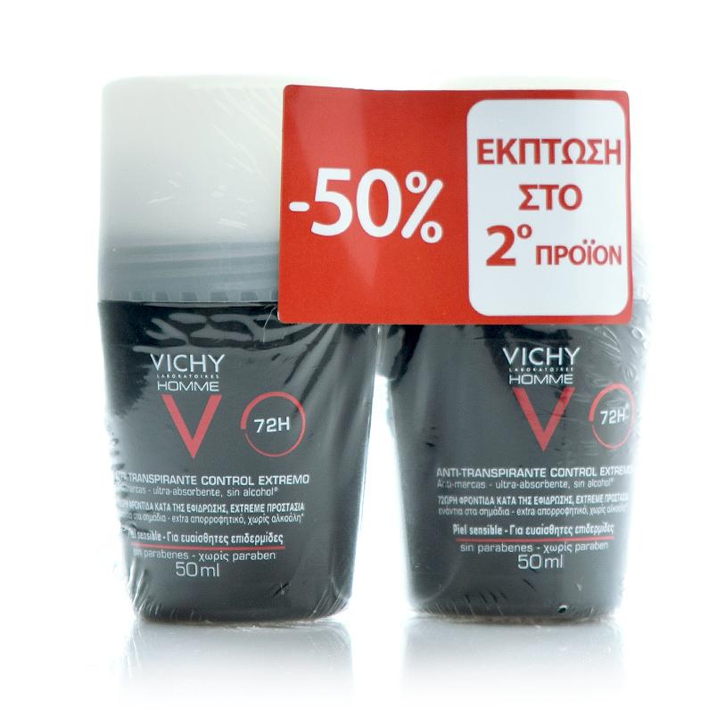 VICHY Homme Deodorant Anti-Transpirant Roll-On 72H -50% Έκπτωση στο 2ο Προϊόν - 2x50ml