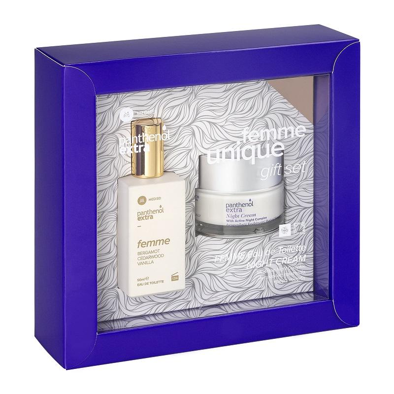 PANTHENOL Extra Femme Unique Gift Set, Eau De Toilette - 50ml & Night Cream - 50ml