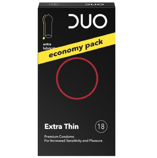 DUO Extra Thin Προφυλακτικά Economy Pack 18Τμχ