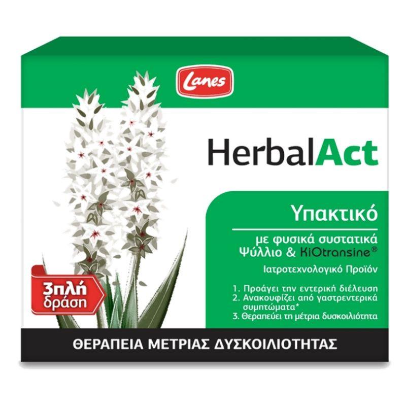 LANES HerbalAct, Υπακτικό με Psyllium Husk - 14φακελίσκοι