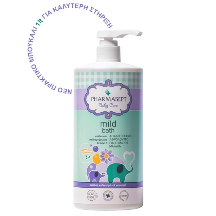 PHARMASEPT Baby Care Mild Bath, Παιδικό Αφρόλουτρο για Σώμα και Μαλλιά - 1lt
