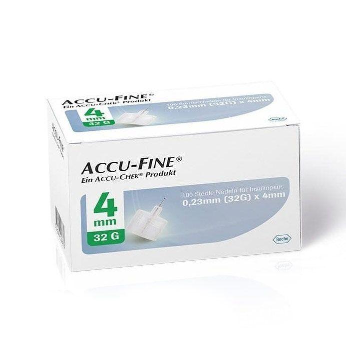 ACCU-CHEK Accu-Fine 0.23mm (32G) x 4mm Αποστειρωμένες Βελόνες για Πένα Ινσουλίνης - 100τμχ