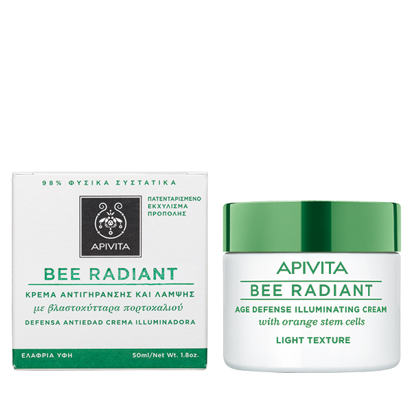 APIVITA Bee Radiant Κρέμα Αντιγήρανσης και Λάμψης με Βλαστοκύτταρα Πορτοκαλιού - Light Texture 50ml