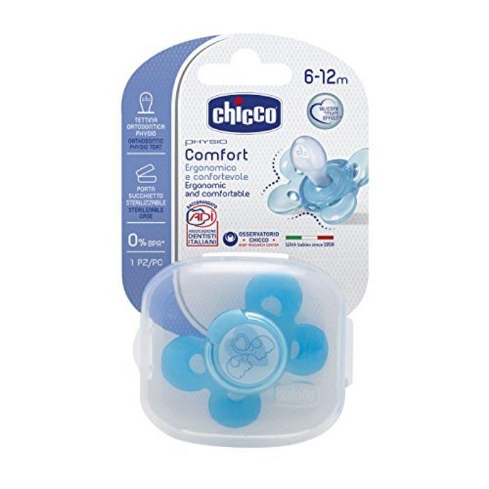 CHICCO Physio Comfort  Πιπίλα Πλαστική 6-12m Με Θήκη Μπλε